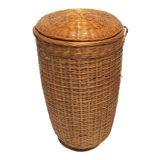 Wicker Basket or Hamper With Lid For Sale