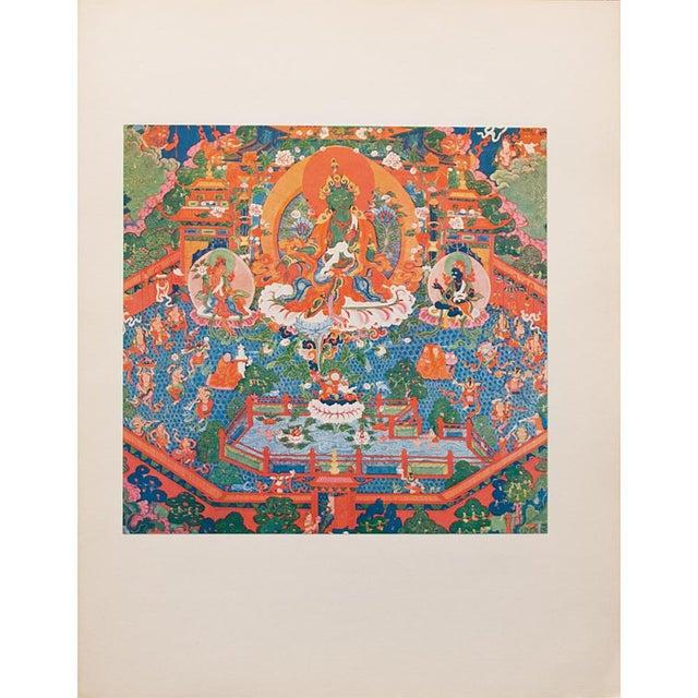 Printmaking Materials 1954 the Paradise of the Tara Goddess, Original Parisian Photogravure After 18th C. Tibetan Painting For Sale - Image 7 of 9