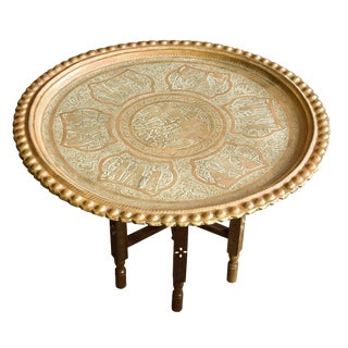 Antique Brass Tray Table For Sale