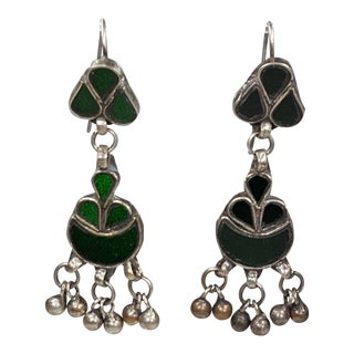 Vintage Green Glass Inlay Earrings For Sale
