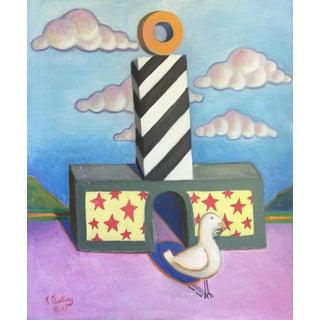 Vintage Surrealist Painting by California Artist Ken Darling For Sale