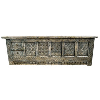 Blackened Carved Low Sideboard