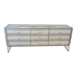 Custom Python Nine-Drawer Dresser with Lucite Side Panels