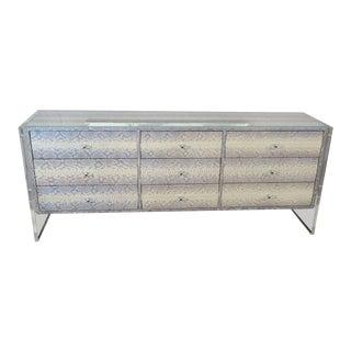 Custom Python Nine-Drawer Dresser with Lucite Side Panels For Sale