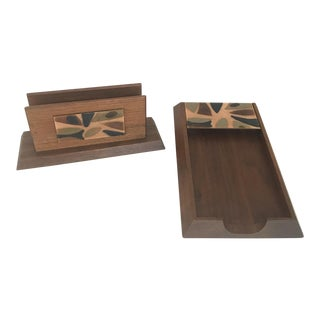 Vintage Wood and Glass Desk Accessories - Set of 2 For Sale