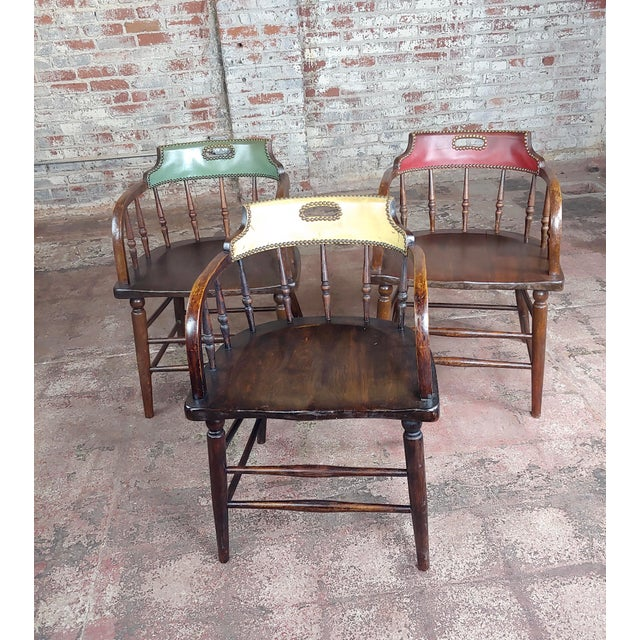 English Traditional Antique Captain Old West Gambling Arm Chairs -Set of 6 For Sale - Image 3 of 8