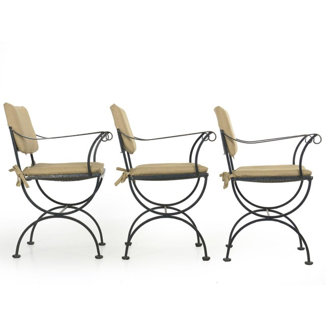 Mid 20th Century Set of Six Salterini Style Black Iron Patio Dining Chairs, Mid 20th Century For Sale - Image 5 of 13