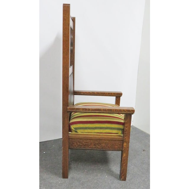 Gothic 1900s Antique Gothic Carved Oak Throne Chair For Sale - Image 3 of 6