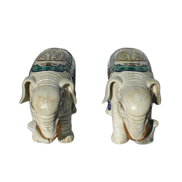 Ceramic Off White Oriental Elephant Figures - Pair For Sale