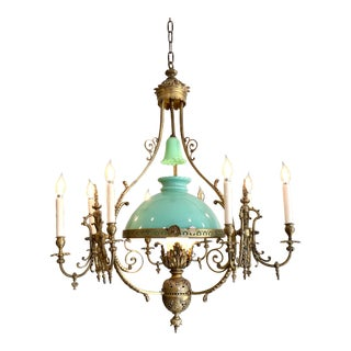 French Victorian Bronze Ten-Light Converted Gas Chandelier For Sale