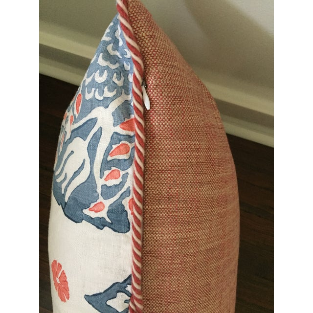 Custom Galbraith & Paul Lotus Coral and Blue Pillow Cover For Sale - Image 4 of 5
