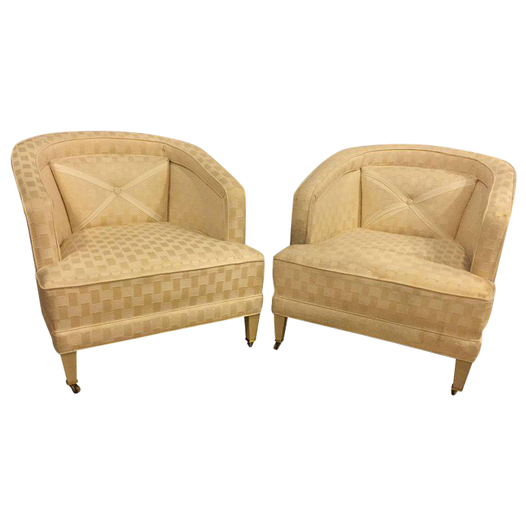 White Hollywood Regency Dorothy Draper Style Lounge Chairs   A Pair For  Sale   Image 8