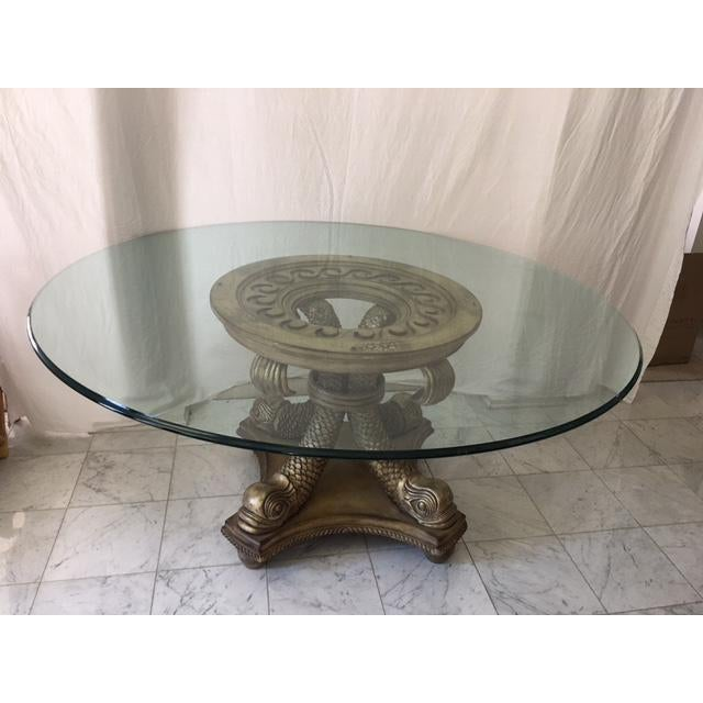 Transitional Neo Classical Gold Silver Gilt Dolphin Dining Table - Image 2 of 7