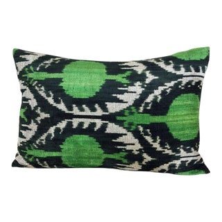 Black And Green Silk Velvet Down Feather Ikat Accent Pillow