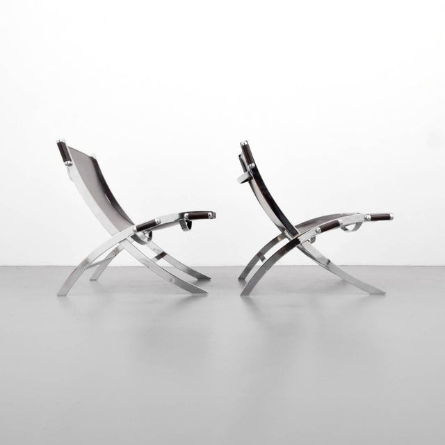 Paul Tuttle Pair of FlexForm Chrome and Leather Lounge Chairs, 1960s, Itay For Sale - Image 4 of 5