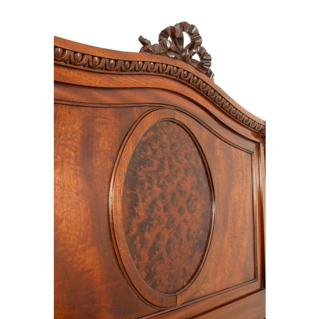Brown French Hand Carved Walnut / Burl Walnut Single Beds - a Pair For Sale - Image 8 of 9