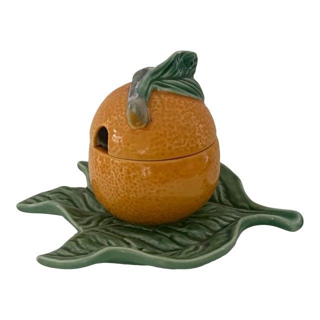 Bordallo Pinheiro Majolica Orange Marmalade Jar With Green Leaf Under Plate For Sale