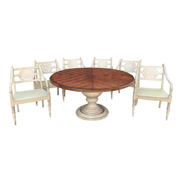 Vintage Baker Furniture Milling Road French Country Dining Table and Six Chairs - Set of 7 For Sale
