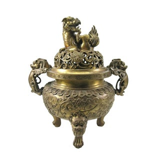 Antique Chinese Ming-Style Gilt Bronze Incense Burner For Sale