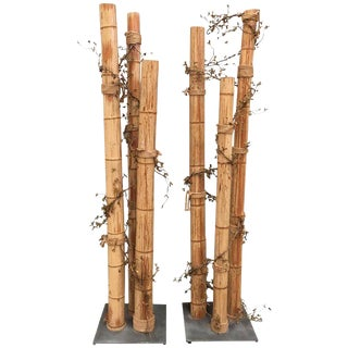 Pair of 20th Century Asian Decorated Columns With Vines, Leaves