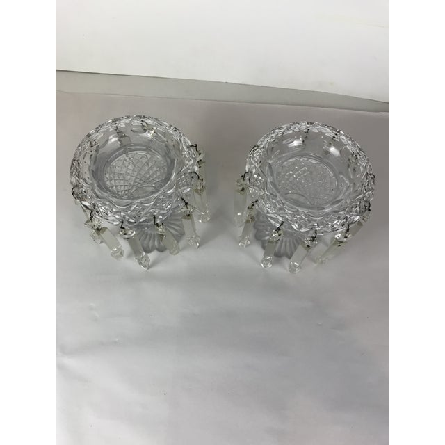 Presenting: A Pair of nice geometric shape vase shape or girandoles comes each with beautiful 12 crystal hanging prism on...
