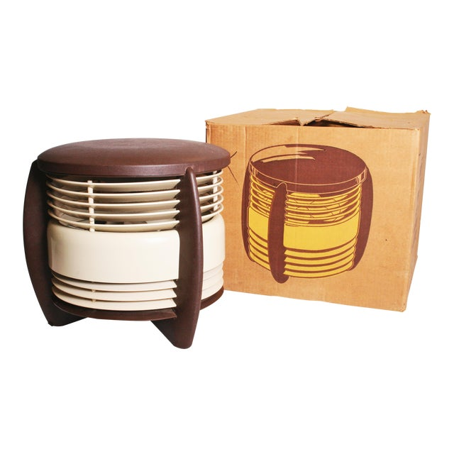Mid Century Modern Hassock Stool Fan with Original Box For Sale