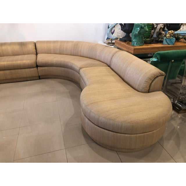 Milo Baughman Vintage 1970's Mid Century Modern Curved Sectional Sofa - 5 Pieces For Sale - Image 4 of 12