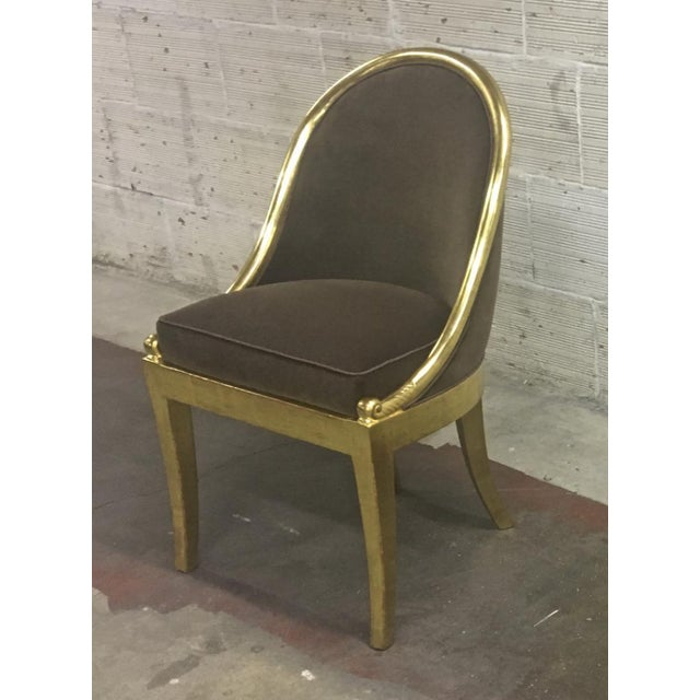 Maurice Dufrène Maurice Dufrene Refined Empire Inspired Gold Leaf Wood Pair of Side Chairs For Sale - Image 4 of 8