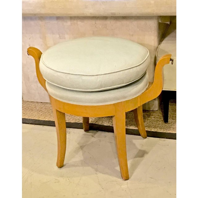 French Deco Vanity Stool in Sycamore For Sale In Los Angeles - Image 6 of 7
