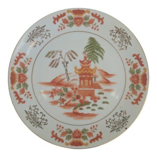Vintage Orange Pagoda Chinoiserie Decorative Plate For Sale