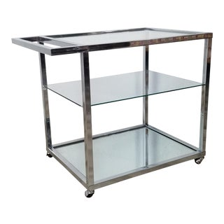 Milo Baughman Style Three Tier Chrome and Glass Bar Cart For Sale