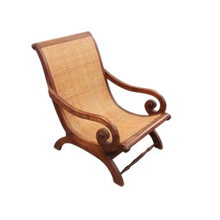 Caned English Style Plantation Chair For Sale