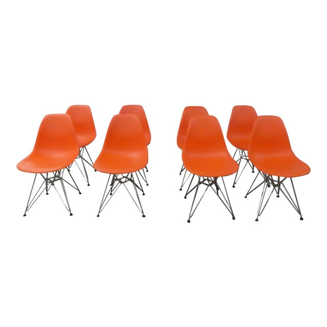 8 Orange Herman Miller Eames Office Eiffel Tower Chairs For Sale