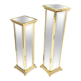 Square Brass and Mirror Panels Pedestals Stands For Sale