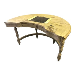 Shabby Chic Hand Painted Semi-Circle Desk With Drawer by Hammary For Sale