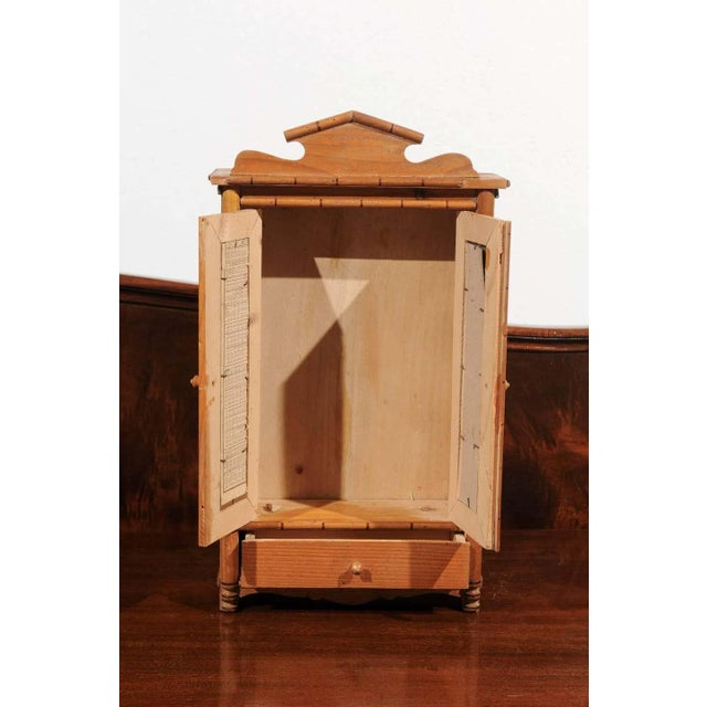 Late 19th Century Antique French Miniature Pine Armoire For Sale - Image 5 of 10