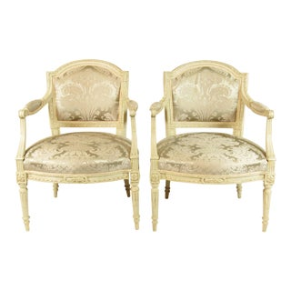 19th C. Vintage Louis XVI Fautueils- A Pair For Sale