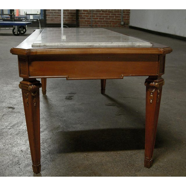 Mid 20th Century Circa 1940 France Maison Jansen Marble and Mahogany Coffee Table For Sale - Image 5 of 9