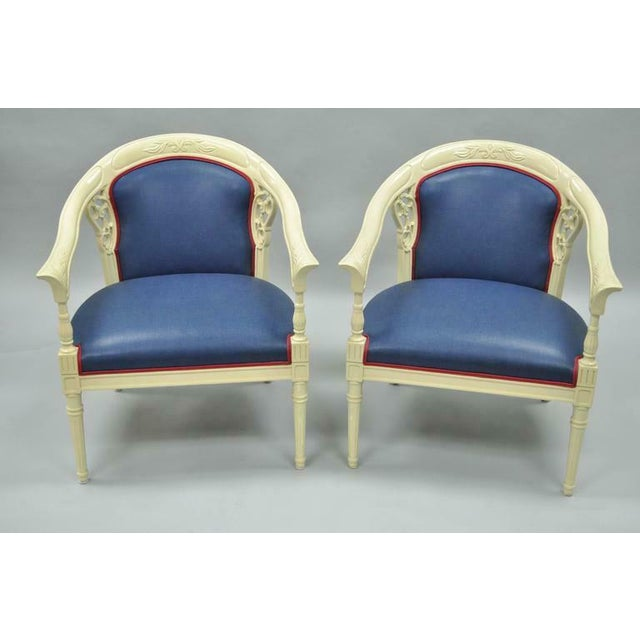 Cream Lacquered Chinoiserie Blue Barrel Back Lounge Club Arm Chairs - A Pair For Sale - Image 9 of 10