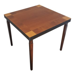 Vintage Mid-Century Folding Wood Card Table For Sale