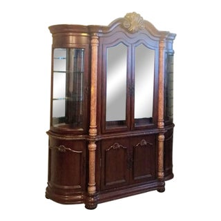 Traditional Wood Carved China Cabinet For Sale