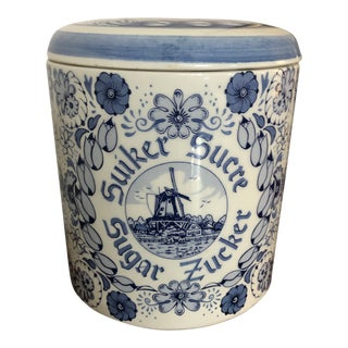 Delft Blue Handpainted Sugar Canister With Lid For Sale