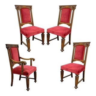 Set 4 Antique Renaissance Revival Figural Lion Carved Oak Side Arm Dining Chairs For Sale