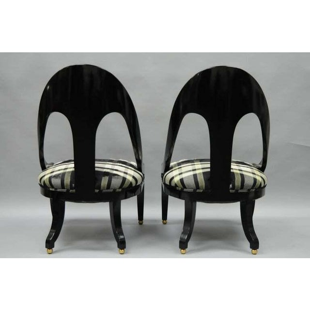 Black 1960s Vintage Michael Taylor Baker Black Lacquer & Gold Spoon Back Slipper Lounge Chairs- A Pair For Sale - Image 8 of 10