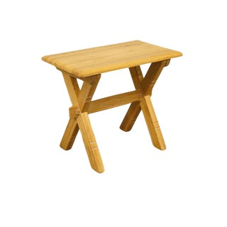 Brandt Ranch Oak Western Style X-Frame End / Lamp Table For Sale