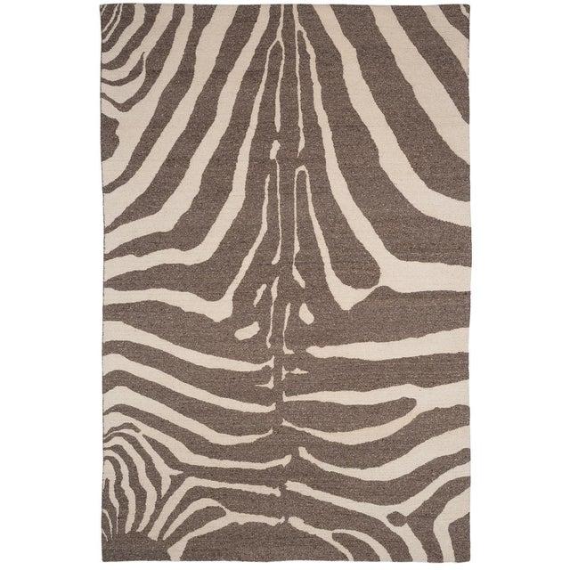 Textile Zebra Design Brocade Weave Area Rug - 6′ × 9′ For Sale - Image 7 of 7