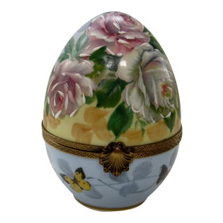 Antique French Limoges Large Rare Hand Painted Egg-Shaped Trinket Box For Sale