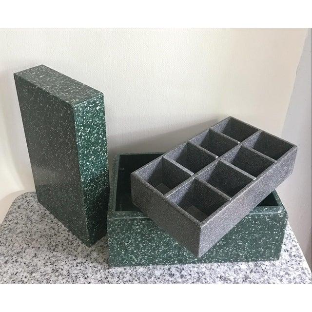 1980s Post Modern Green Jesmonite Terrazzo Stone Jewelry Box For Sale - Image 5 of 10