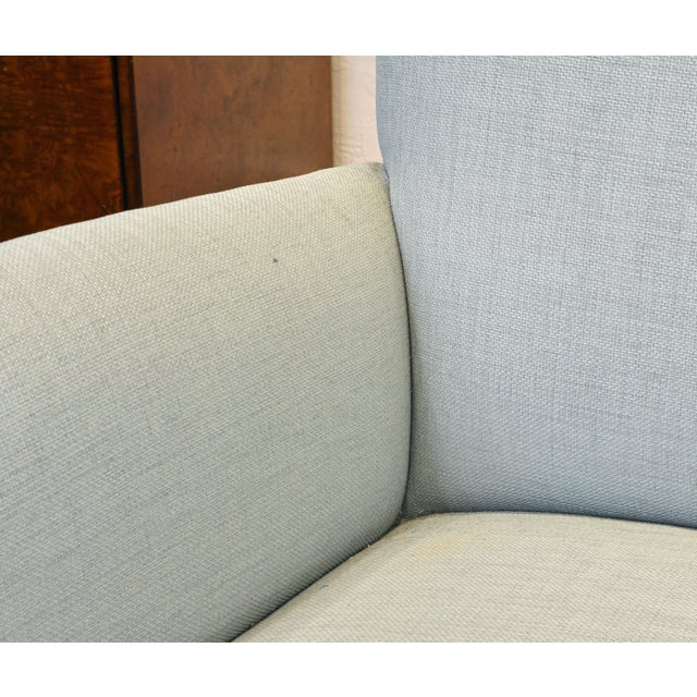 Wood Vintage Ico Parisi Style Seafoam Color Loveseat Settee With Great Curved Lines For Sale - Image 7 of 11