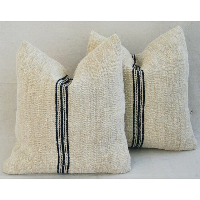 French Grain Sack Down & Feather Pillows - Pair - Image 8 of 11